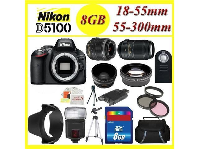 Nikon D5100 Digital SLR Camera w/ 18-55mm + 55-300mm lens + HQ Wide & Telephoto Lens!! With Full ACCESORY-KIT