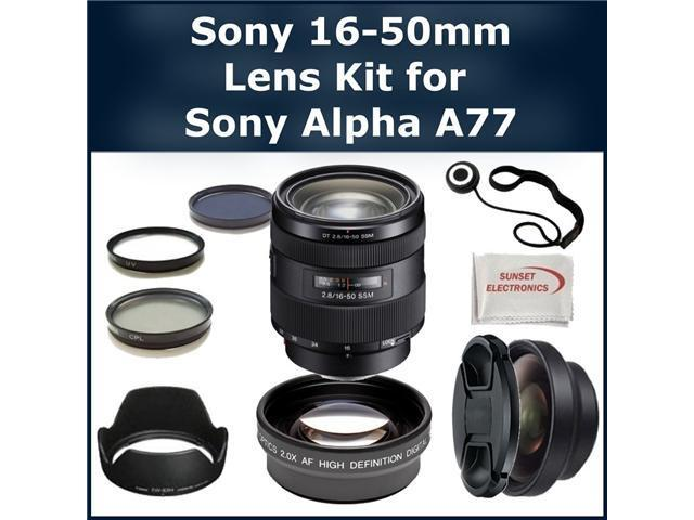 Sony 16-50mm Lens Kit for Sony Alpha SLT-A77 DSLR Camera. Package Includes: Sony 16-50mm f/2.8 Standard Zoom Lens, 2X Telephoto ...