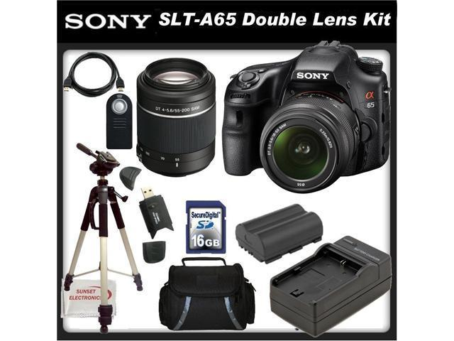 Sony a (alpha) SLT-A65VK - Digital camera - SLR - 24.3 Mpix - Sony DT 18-55mm lens - Sony DT 55-200mm lens - SSE Package: Wireless Remote, Full Size Tripod, Replacement FM500H Battery & Much More!