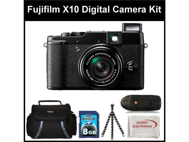 Fujifilm X10 Digital Camera Kit Includes: Fujifilm X-10 Camera, 8 GB Memory Card, Memory Card Reader, Gripster Tripod, SSE Microfiber Cleaning Cloth and Soft Carrying Case