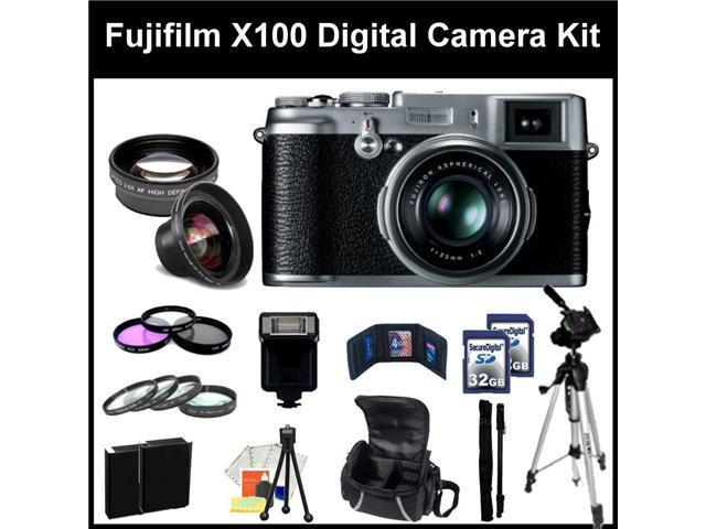 Fujifilm X100 Digital SLR Camera Kit. - 16128244- Also Includes: 0.45X Wide Angle Lens, 2X Telephoto, 3 Piece Filter Kit(UV-CPL-FLD), 4 Piece Macro Filter Set(+1,+2,+4,+10),2X 32GB Memory cards & More