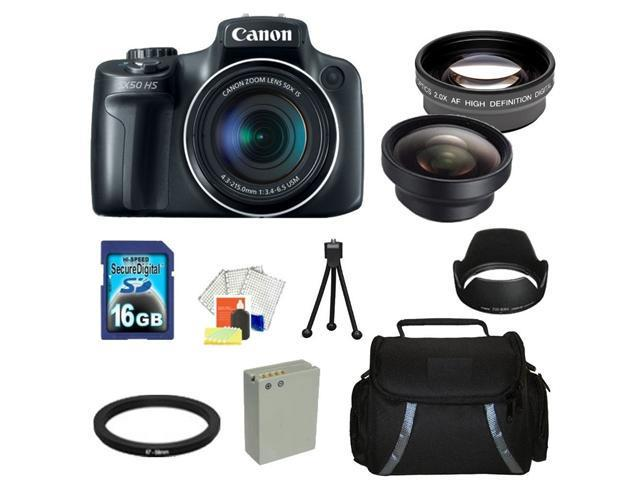 Canon PowerShot SX50 HS Digital Camera Kit. Includes: 0.45X Wide Angle Lens, 2X Telephoto Lens, Lens Hood, 16GB Memory Card, Extended Life Replacement Battery, Adapter Ring, Table Top Tripod, Carrying