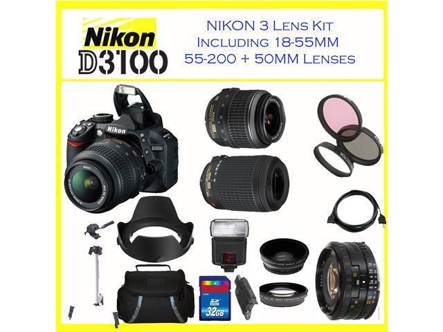 Nikon D3100 SLR Digital Camera w/ 18-55mm Lens, 55-200mm, 50mm lens & Accessory Kit