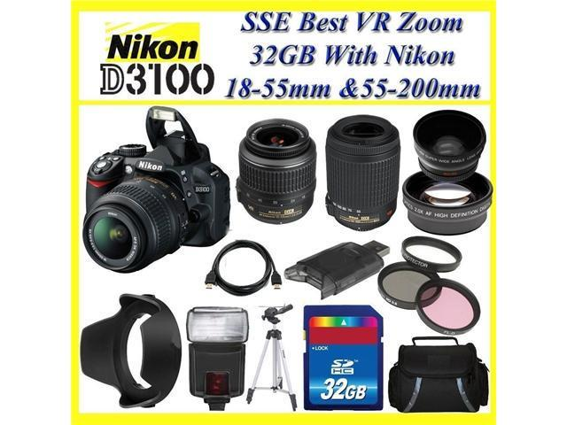 The Nikon D3100 SLR Digital Camera with Nikon 18-55m f/3.5-5.6G VR Lens and Nikon AF-S DX VR Zoom-Nikkor 55-200mm f/4-5.6G IF-ED Lens + Huge 32GB, Lens And Tripod Accessory Package