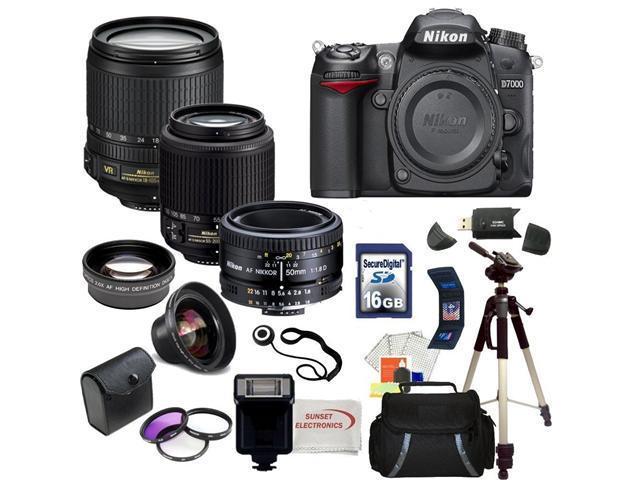 Nikon D7000 16.2MP CMOS Digital SLR w/ Nikon 18-105mm ED VR AF-S DX Nikkor Autofocus Lens & Nikkor 50mm f/1.8D Autofocus Lens & Nikkor 55-200mm f/4-5.6G IF-ED Lens with SSE Pro Series Package!!