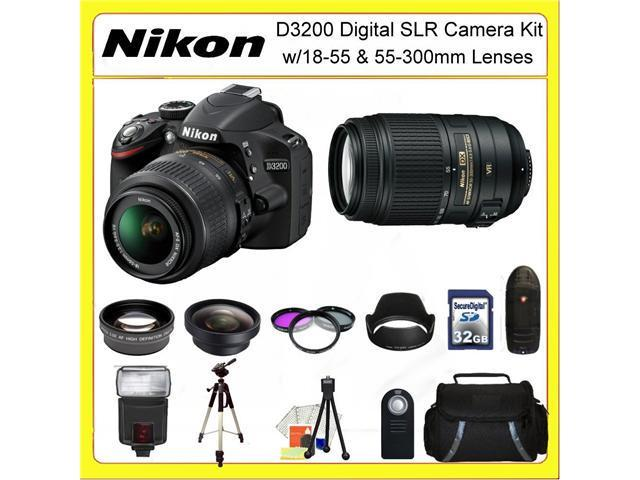 Nikon D3200 Digital SLR Camera Kit with 18-55 & 55-300mm Lenses + 0.45X Wide Angle Lens, 2X Telephoto Lens, 3 Piece Filter Kit, 32GB Memory Card, 50
