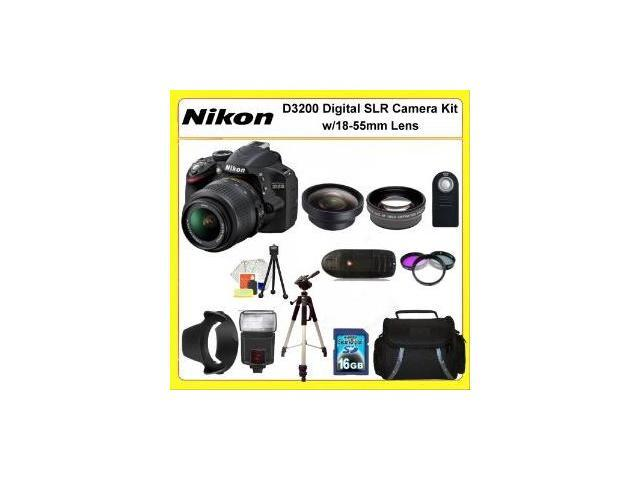 Nikon D3200 Digital SLR Camera Kit with 18-55mm Lens. Also Includes: 0.45X Wide Angle Lens, 2X Telephoto Lens, 3 Piece Filter Kit(UV-CPL-FLD), 16GB Memory Card, 50
