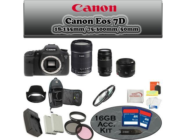 Canon EOS 7D DSLR Camera with 3 Canon Lens Pro Pack Also Includes Deleuxe Backpack, 2 Extra Batteries + More