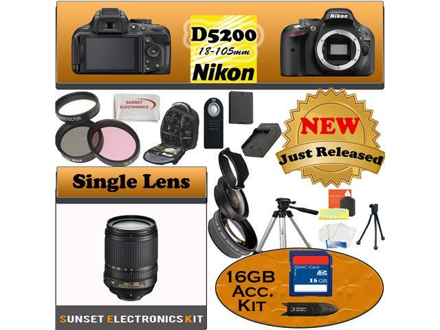 Nikon D5200 24.1 MP Digital SLR Camera (Black) With Nikon 18-105mm Lens, Including our Huge Accessory Package
