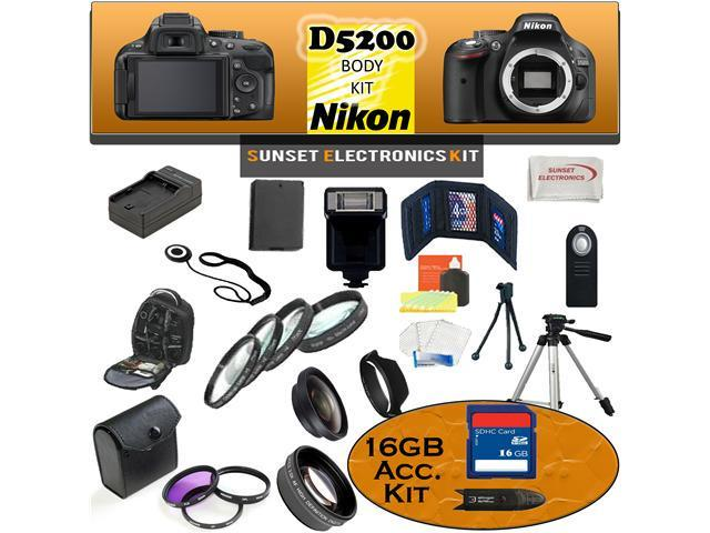 Nikon D5200 24.1 MP Digital SLR Camera (Black) Body Kit Including our Ultimate Accessory Package