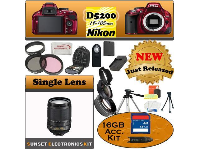 Nikon D5200 24.1 MP Digital SLR Camera (Red) With Nikon 18-105mm Lens, Including our Huge Accessory Package