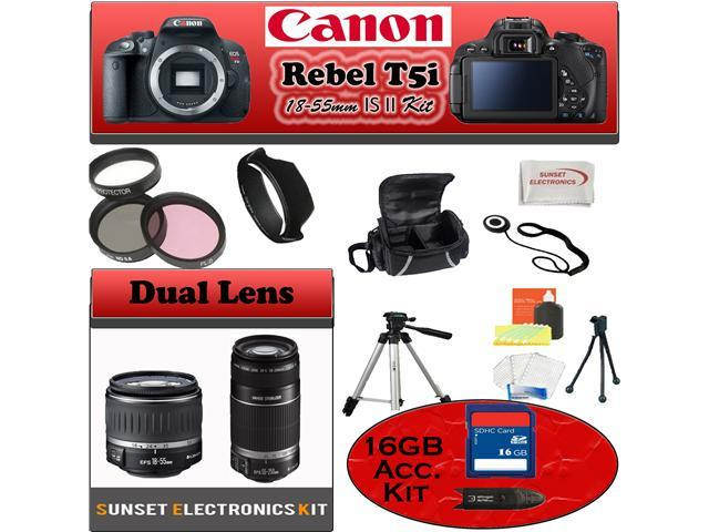 Canon Rebel T5i Black 18.0 MP Digital SLR Camera With 18-55mm IS Lens With Canon 55-250mm IS Lens & Simple Accessory Package