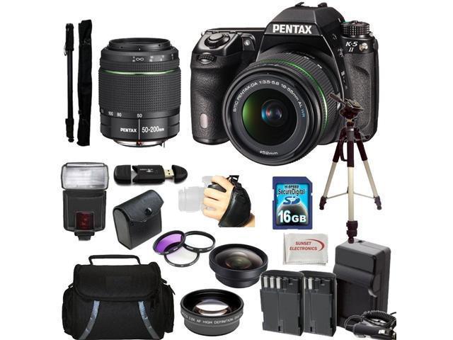 Pentax K-5 II Digital SLR Camera Kit with SMC DA 18-55mm f/3.5-5.6 AL WR Lens + SMC Pentax DA 50-200mm f/4-5.6 ED WR Zoom ...