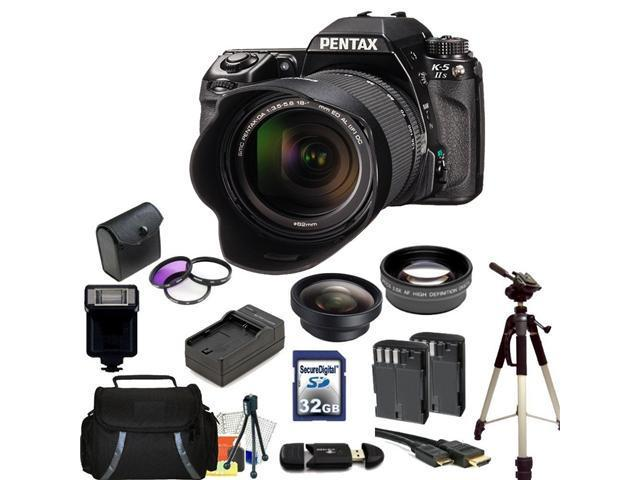 Pentax K-5 II Digital SLR Camera Kit with SMC DA 18-55mm f/3.5-5.6 AL Lens. Includes: 0.45x Wide Angle Lens, 2X Telephoto Lens, 3 Piece Filter Kit(UV-CPL-FLD), 32GB Memory Card, & More