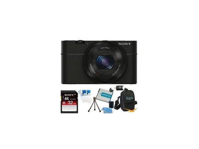 Sony DSC-RX100 20.2 MP Digital Camera Bundle: Including - 32GB SD Card, SD Card Reader, Spare Battery, Deluxe Case, & Starter Kit - Sunset Electronics