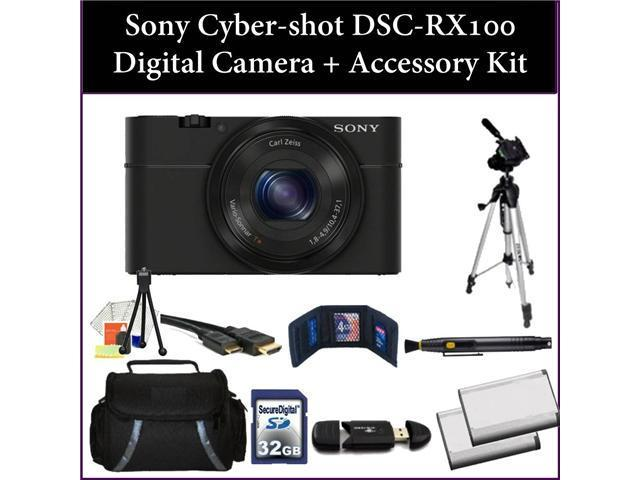 Sony Cyber-Shot DSC-RX100 (RX100) Digital Camera Kit. Includes: 32GB Memory Card + Reader, 2 Extended Life Replacement Batteries, Tripod, Carrying Case & More..! DSCRX100/B