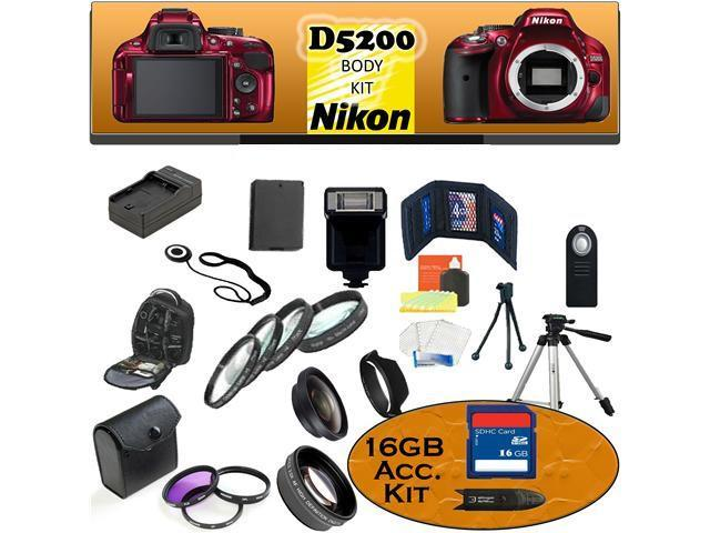 Nikon D5200 24.1 MP Digital SLR Camera (Red) Body Kit Including our Ultimate Accessory Package