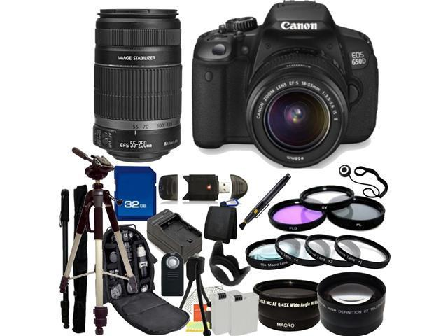 Canon 650D / EOS Rebel T4i Digital Camera with EF-S 18-55mm  IS II Lens & EF-S 55-250mm IS II Lenses. Also Includes: Wide ...