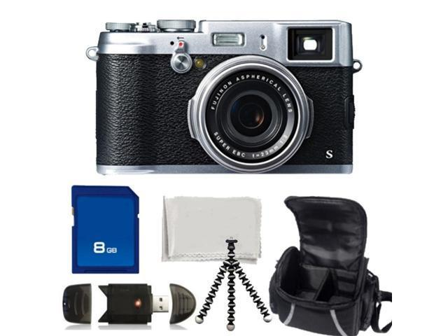 Fujifilm X100S Digital Camera Kit - 8GB Memory Card, High Speed Memory Card Reader, Gripster Tripod, Carrying Case & Microfiber Cleaning Cloth