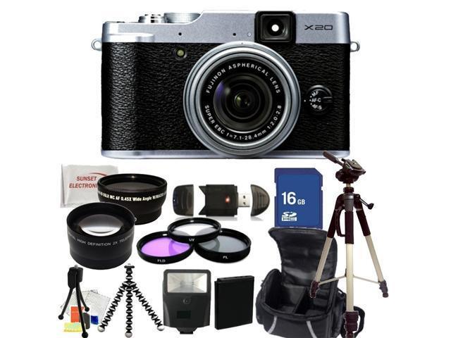 Fujifilm X20 Digital Camera (Silver). Includes: 0.45X Wide Angle Lens, 2X Telephoto Lens, 3 Piece Filter Kit (UV-CPL-FLD), 16GB Memory Card, Slave Flash, Full Size Tripod, Gripster Tripod & More!