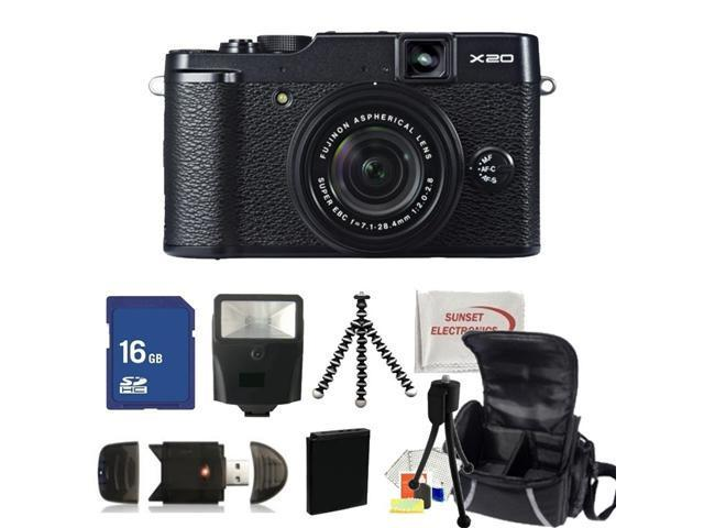 Fujifilm X20 Digital Camera (Black). Includes: 16GB Memory Card, High Speed Card Reader, Extended Life Replacement Battery, Slave Flash, Gripster Tripod, Carrying Case & More