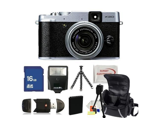 Fujifilm X20 Digital Camera (Black). Includes: 16GB Memory Card, High Speed Memory Card Reader, Extended Life Replacement Battery, Slave Flash, Gripster Tripod, Carrying Case & More