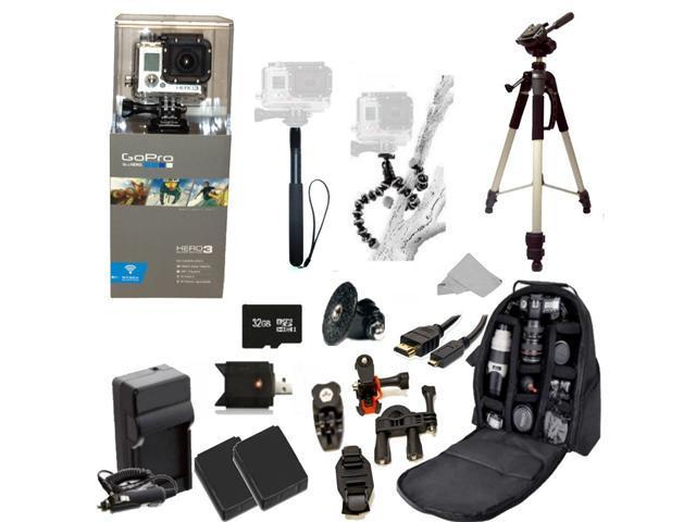 GoPro HERO3: Silver Edition Camera (CHDHN-301) + Action Pro Series All In 1 ATV/Bike Kit Designed for Bike Mount Motorcross, ATV, ROAD, MOUNTAIN, snowmobile + Extra Necessary Accessories