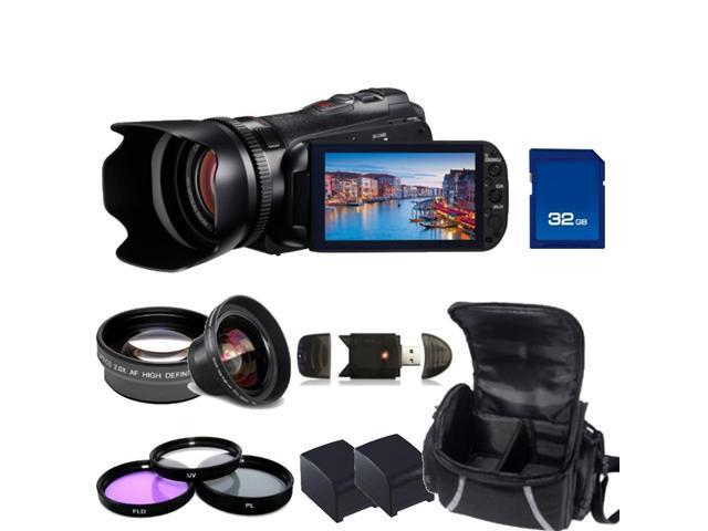 Canon Legria HF G10 Flash Memory PAL Camcorder Kit. Includes 0.45X Wide Angle & 2X Telephoto Lenses, Filters (UV-CPL-FLD), 32GB SD Card, High Speed Reader, 2 Extended Life Replacement Batteries & Case