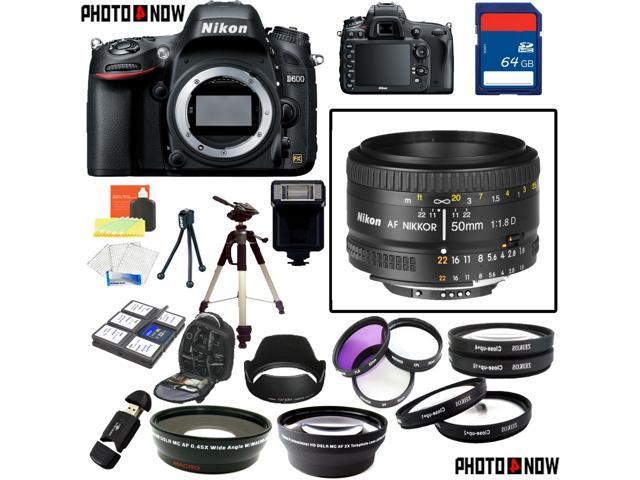 Nikon D600 24.3MP FX-Format DSLR Camera (Body Only) With Nikon AF-S Nikkor 50mm f/1.8D Lens & Deluxe Lens Accessory Package including 64GB SDHC Card & More