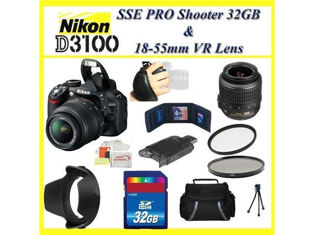 Nikon D3100 14.2MP Digital SLR Camera with 18-55mm VR Lens & Complete Accessory Package