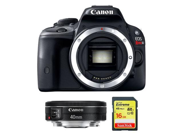 Canon EOS Rebel SL1 (8575B001) Black 18.0 MP Digital SLR Camera Body With Canon 40mm f/2.8 STM + Sandisk EXTREME 16GB SDHC Card - Bundle