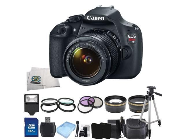 Canon EOS Rebel T5 9126B003 Black 18.00 MP Digital SLR Camera w/ EF-S 18-55mm IS II Lens Ultimate Starter Bundle