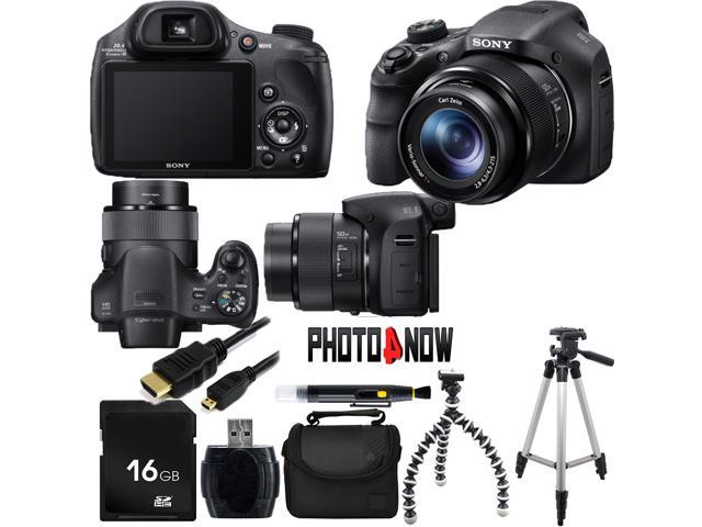 SONY Cyber-shot DSC-HX300/B Black 20.4 MP 50X Optical Zoom Digital Camera HDTV Output With Essential Bundle