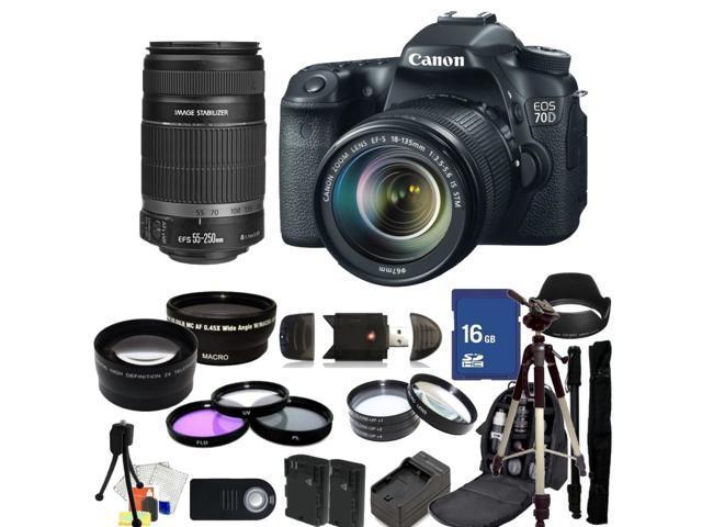 Canon EOS 70D DSLR Camera with 18-135mm STM & 55-250mm Lenses - Kit 3