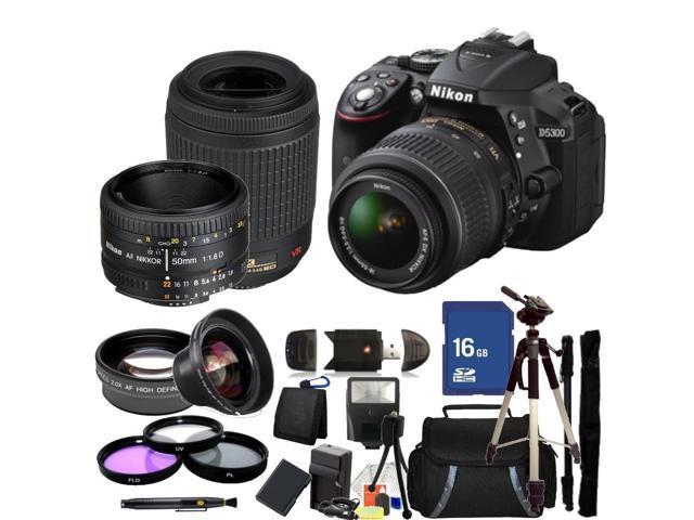 Nikon D5300 Digital SLR Camera With 18-55mm Lens & 55-200mm VR Lens & 50mm 1.8D Kit