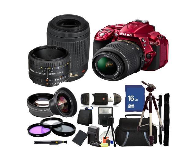 Nikon D5300 Digital SLR Camera With 18-55mm Lens & 55-200mm VR Lens & 50mm 1.8D Kit (Red)