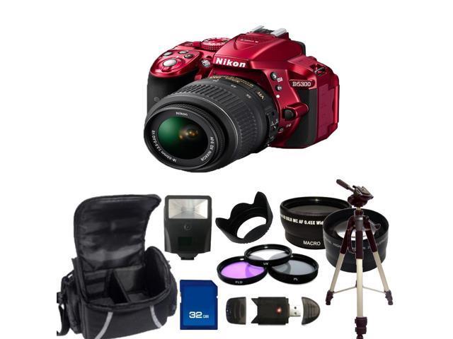 Nikon D5300 Digital SLR Camera With 18-55mm Lens Kit 2 (Red)