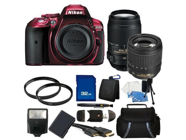 Nikon D5300 Digital SLR Camera With 18-105mm Lens & 55-300mm VR Lens Kit (Red)