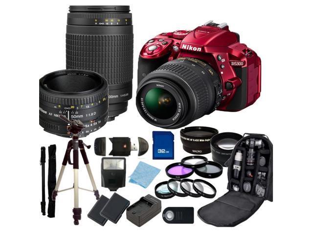 Nikon D5300 Digital SLR Camera With 18-55mm Lens & 70-300mm G Lens & 50mm 1.8D Kit 2 (Red)