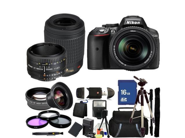Nikon D5300 Digital SLR Camera With 18-140mm Lens & 55-200mm VR Lens & 50mm 1.8D Kit