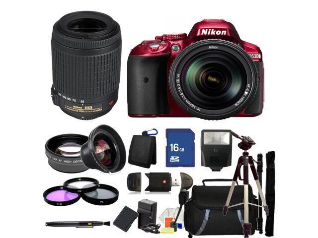 Nikon D5300 Digital SLR Camera Red With 18-140mm Lens & 55-200mm VR Kit
