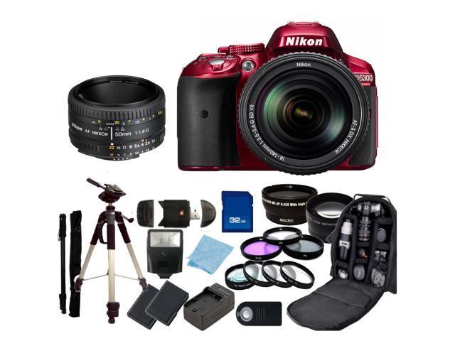 Nikon D5300 Digital SLR Camera Red With 18-140mm Lens & 50mm 1.8D Kit 2