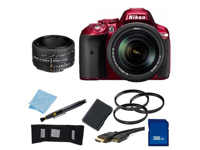 Nikon D5300 Digital SLR Camera Red With 18-140mm Lens & 50mm 1.8D Kit 1