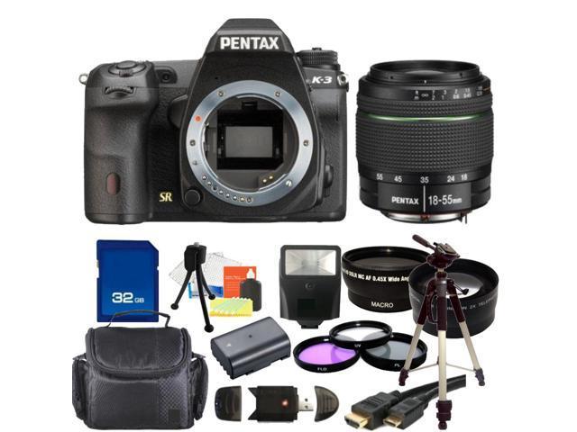 PENTAX K-3 Black 23.35 MP Digital SLR Camera With 18-55mm WR Lens Bundle