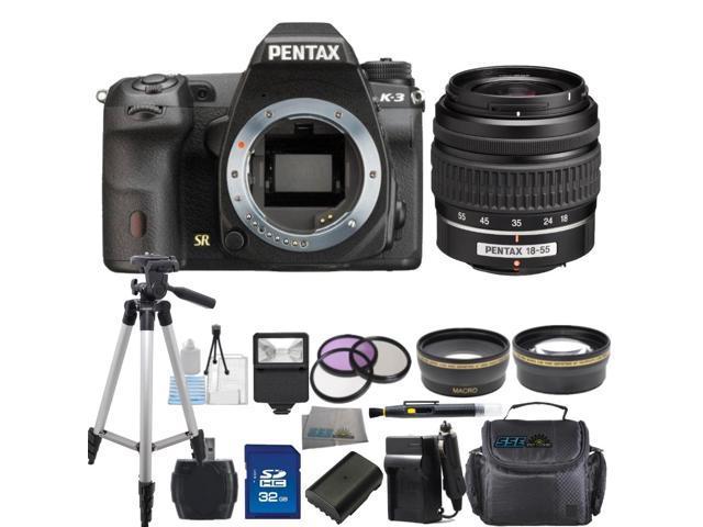 PENTAX K-3 Black 23.35 MP Digital SLR Camera With 18-55mm AL Lens Bundle