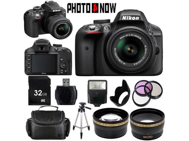 Nikon D3300 1532 Black Digital SLR Camera with 18-55mm VR Lens Essential 32GB Bundle