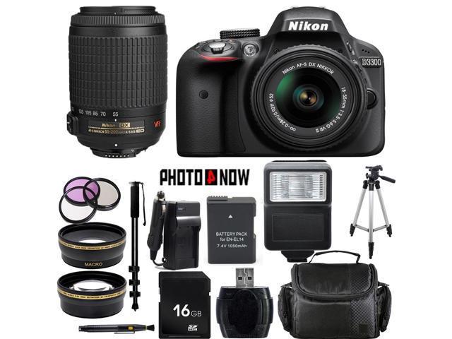 Nikon D3300 1532 Black Digital SLR Camera with 18-55mm VR Lens & Nikon 55-200mm VR Lens Essential 16GB Bundle