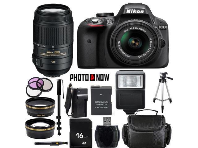 Nikon D3300 1532 Black Digital SLR Camera with 18-55mm VR Lens & Nikon 55-300mm VR Lens Essential 16GB Bundle
