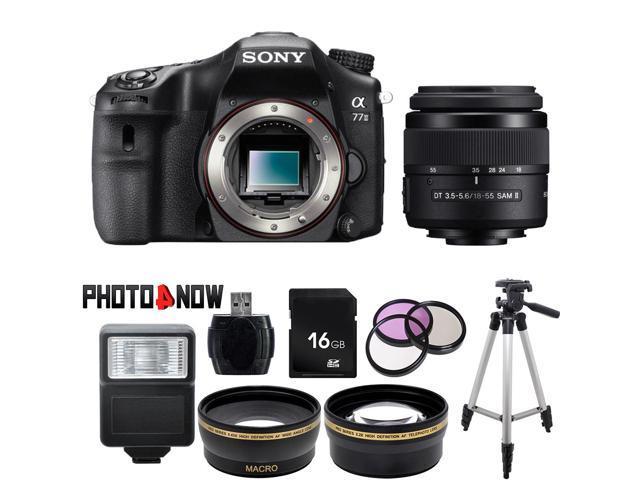 SONY alpha A77 II Black 24.3 MP DSLR Camera ILCA77M2 with DT 18-55mm f/3.5-5.6 SAM II Lens Essential Bundle