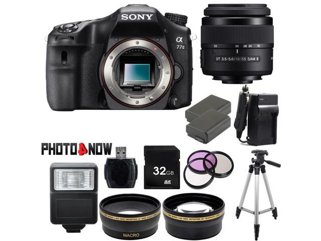SONY alpha A77 II Black 24.3 MP DSLR Camera ILCA77M2 with DT 18-55mm f/3.5-5.6 SAM II Lens Professional Bundle